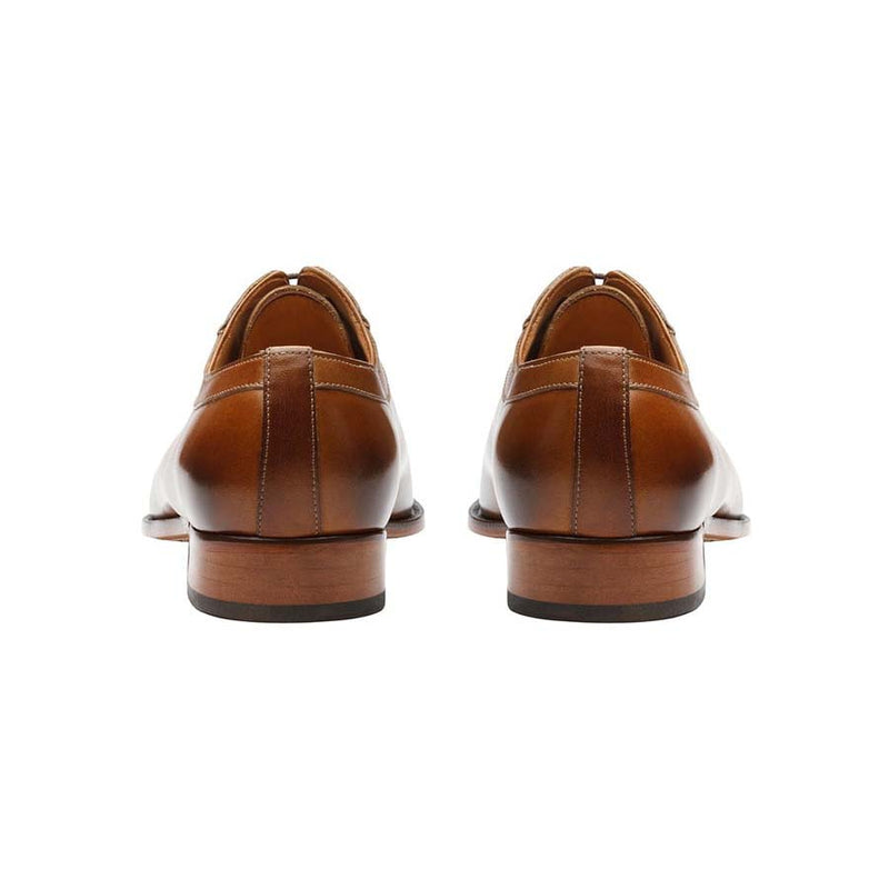 Tan Square Toe Symmetric Oxfords