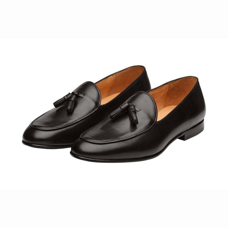 Black Belgian Tassel Loafers