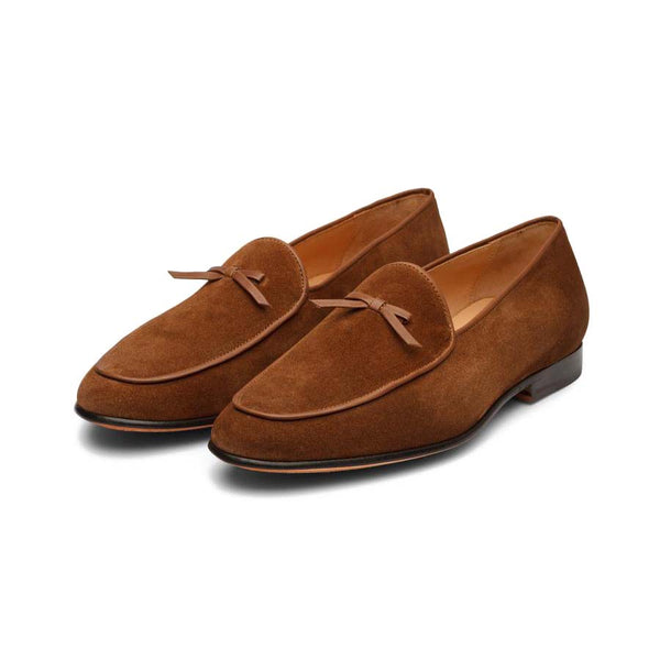 Tan Suede Belgian Bowtie Combination Loafers
