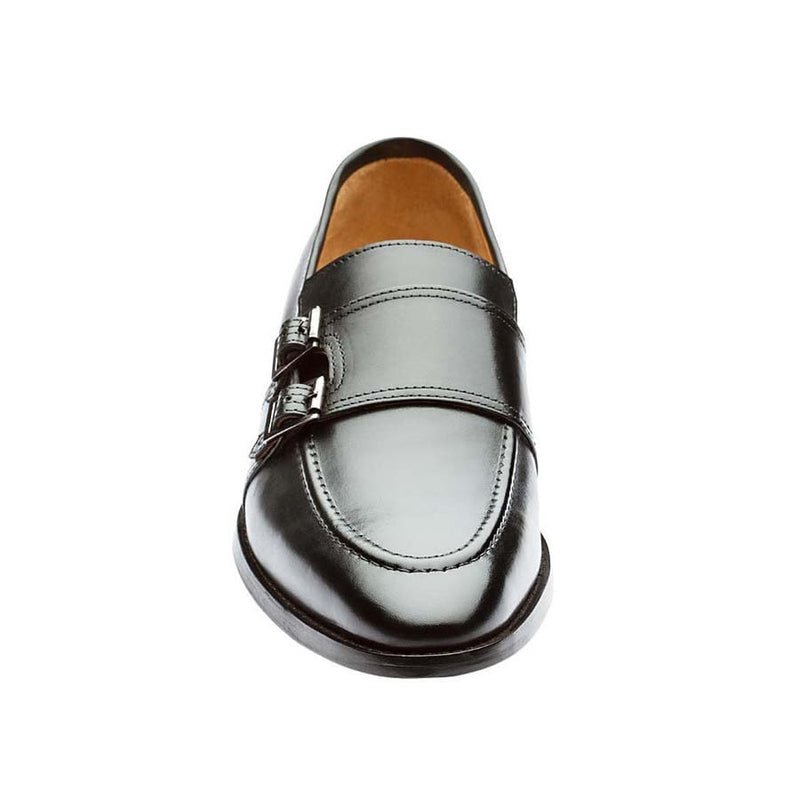 Black Double Buckle Monk Slipon