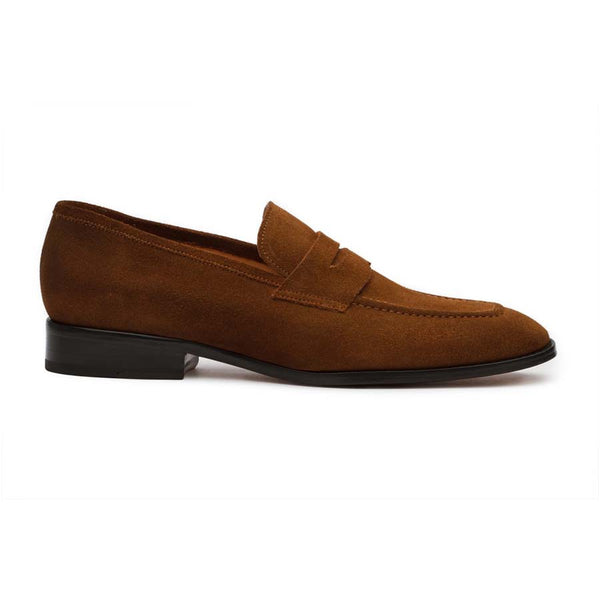Tan Suede Square Toe Penny Loafers