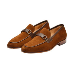 Tan Suede with Brown Leather Buckle Loafer