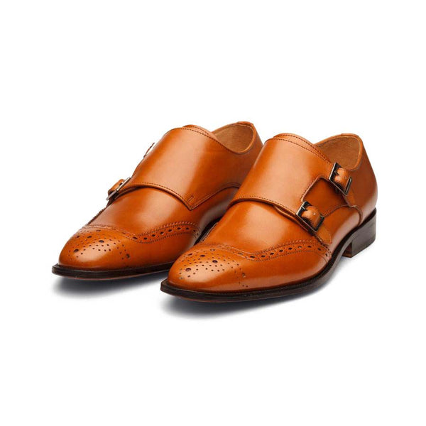 Tan Swan Neck Double Monk Straps