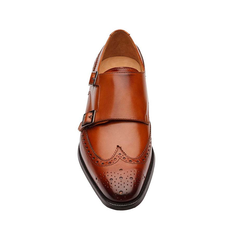 Tan Wingtip Double Monk Straps