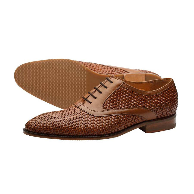 Tan Woven Leather Oxford