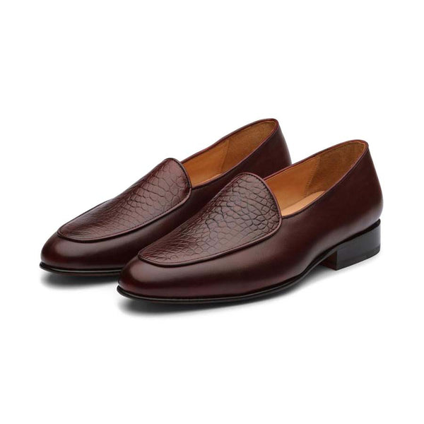 Wine Croco Belgian Slipons