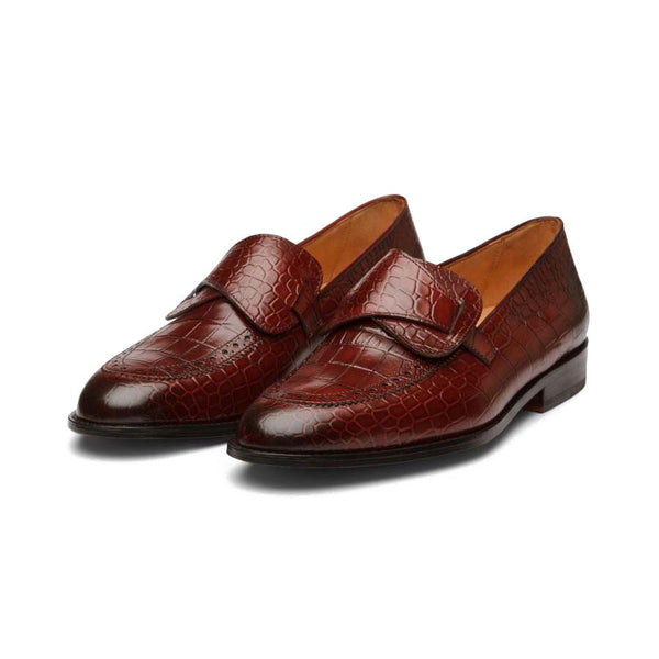 Wine Croco Butterfly Loafers