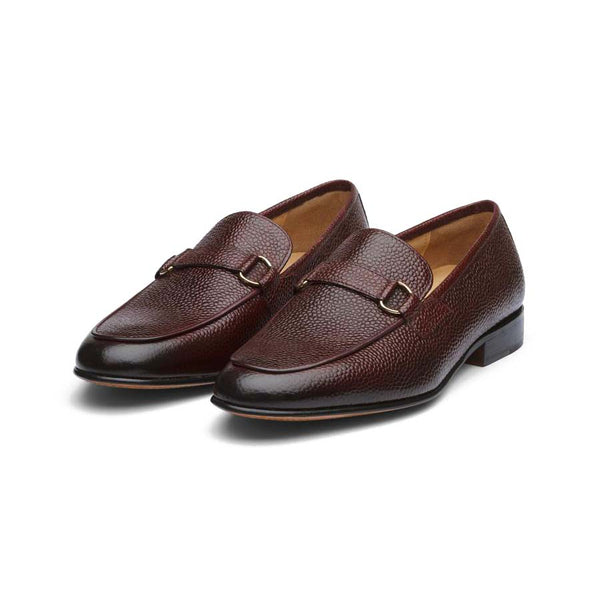 Wine Grain Buckle Loafers