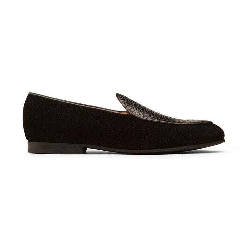 Black Croco Suede Belgian Loafers