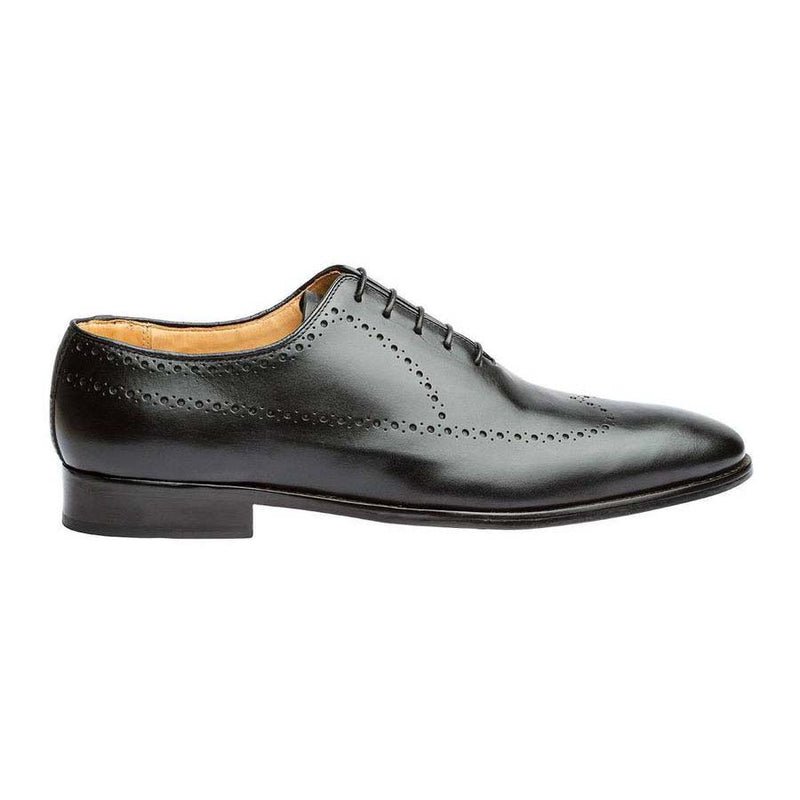 Black Punched Medallion Longwing Oxfords