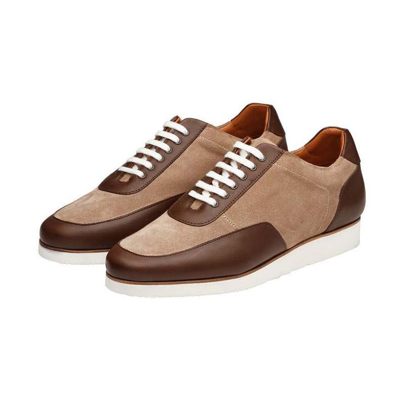 Brown + Cream Suede Combination Sporty Sneakers