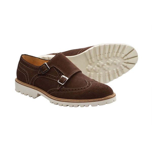 Brown Suede Lightweight Wingtip Monks