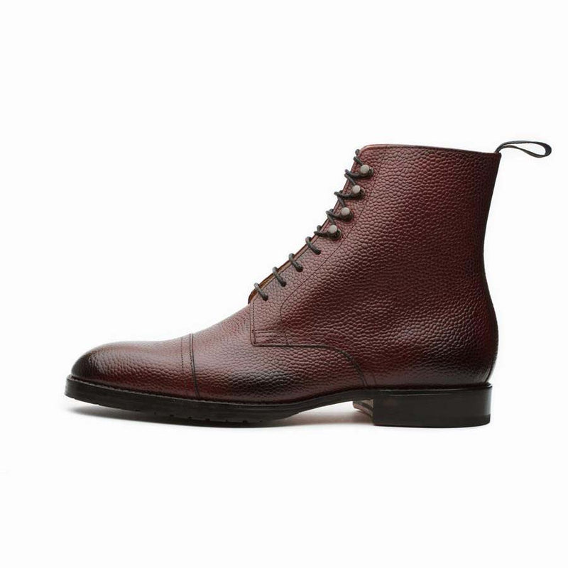 Burgundy Grain Captoe Boots