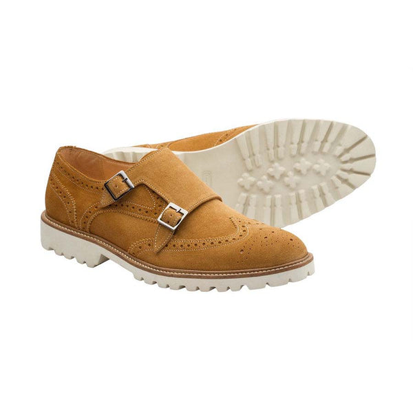 Camel Suede Lightweight Wingtip Monks