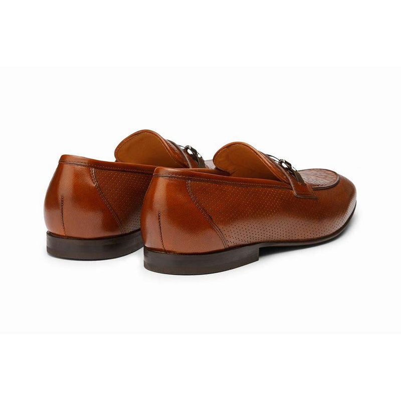 Cognac Punched Croco Buckle Loafers