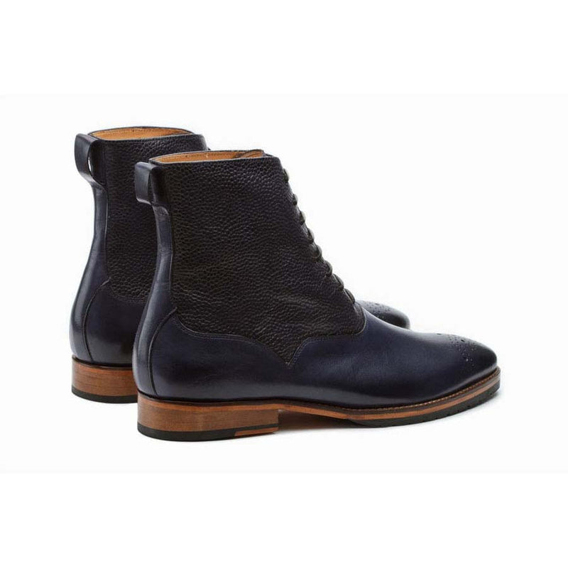Navy Boots with Grain Detail