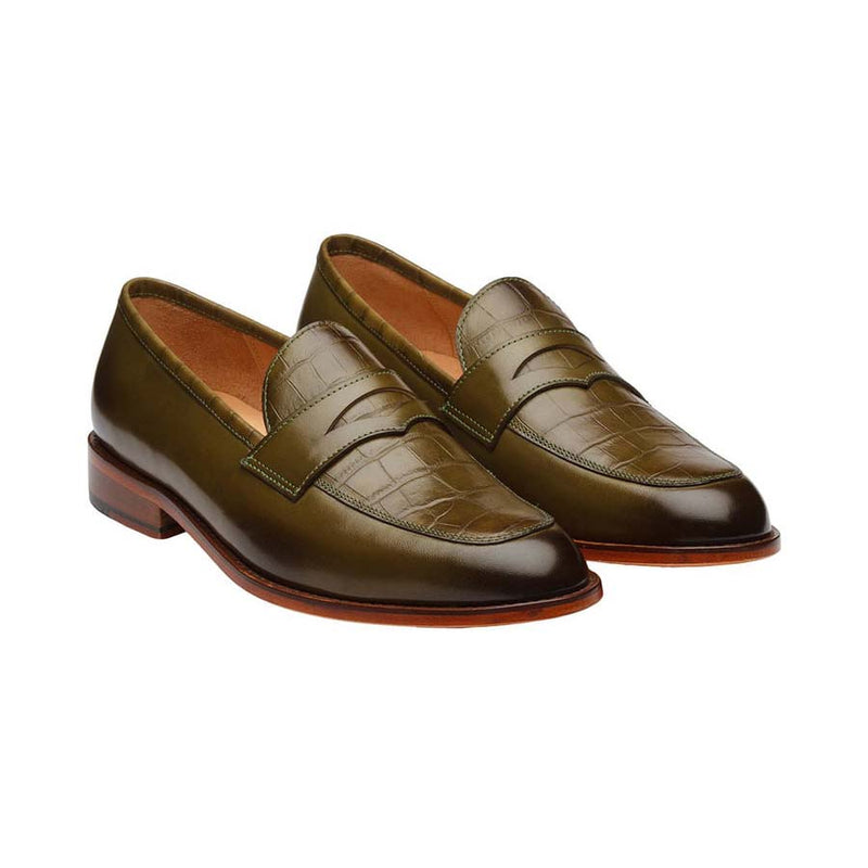 Olive Croco Penny Loafers