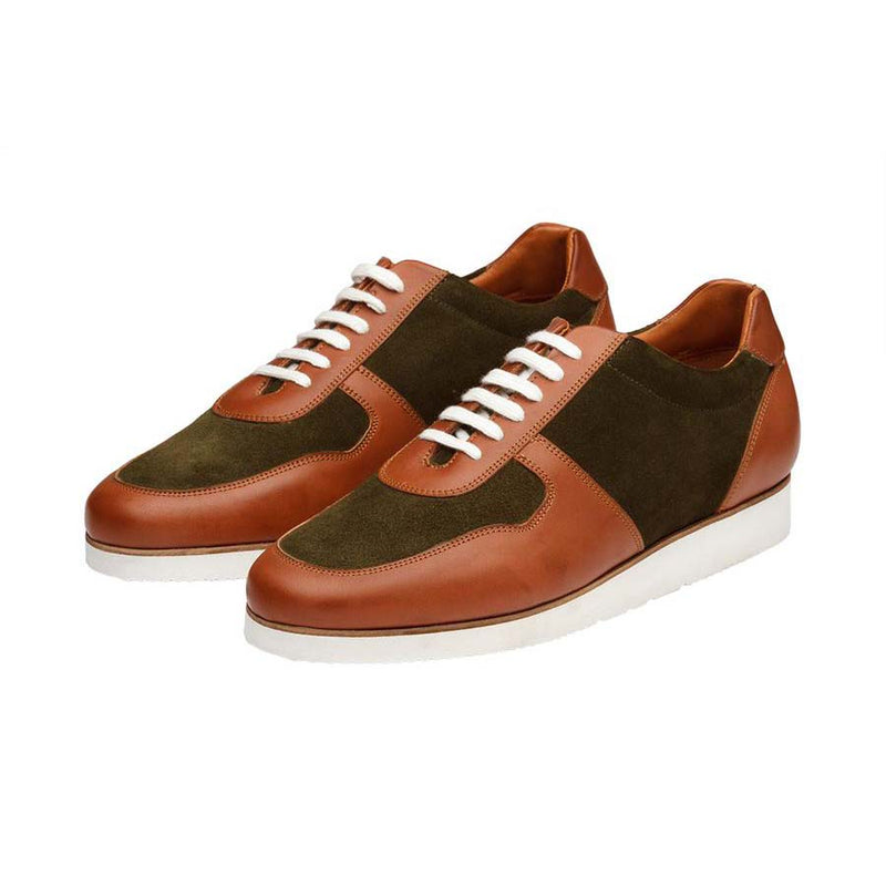 Tan + Khaki Suede Combination Sporty Sneakers