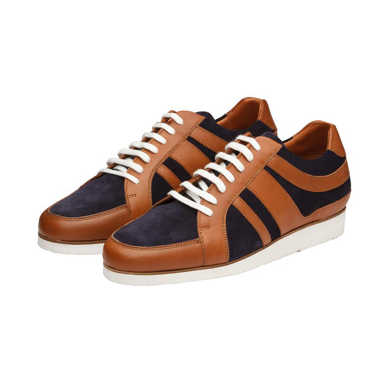 Tan + Navy Suede Combination Sporty Sneakers