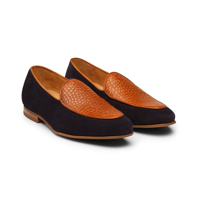 Tan + Navy Suede Croco Belgian Loafers
