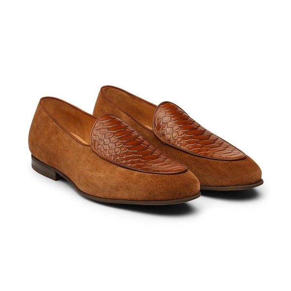 Tan Croco Suede Belgian Loafers