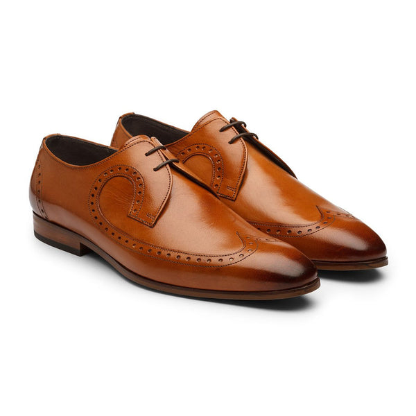 Tan Decorated Derby Wingtips