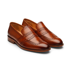 Tan Decorated Saddle Loafers
