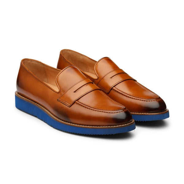 Tan Penny Loafers with Lightweight Blue sole
