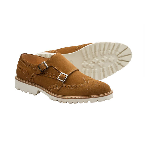 Tan Suede Lightweight Wingtip Monks