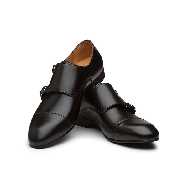 Black Captoe Monk Straps