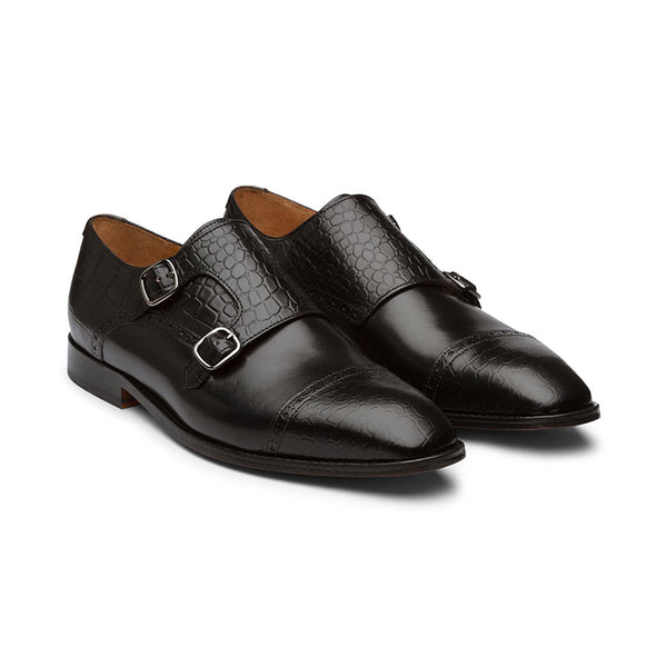Black Croco Monk Captoe