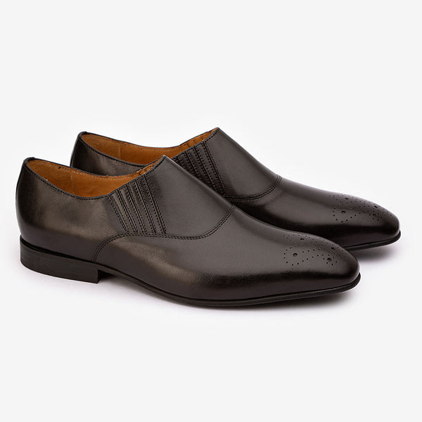 Black Lazyman Medallion Loafers