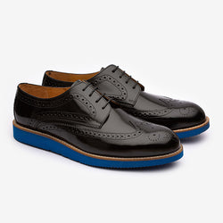 Black Wingtips with Blue Chunky sole