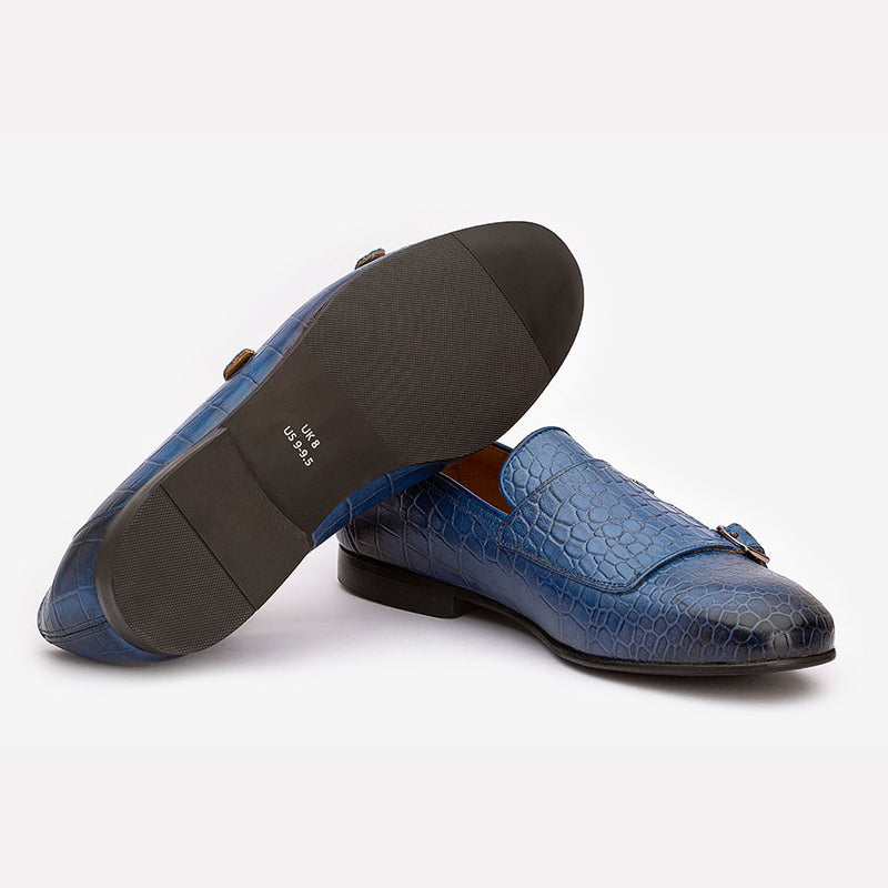 Blue Croco Double Monk Slipons