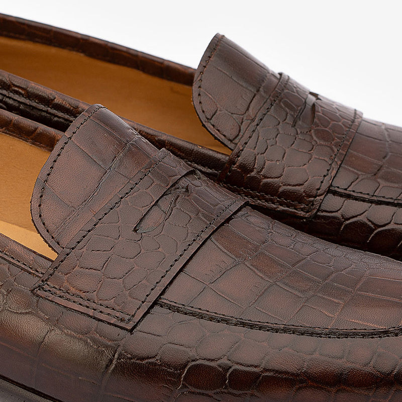 Brown Croco Penny Slipons
