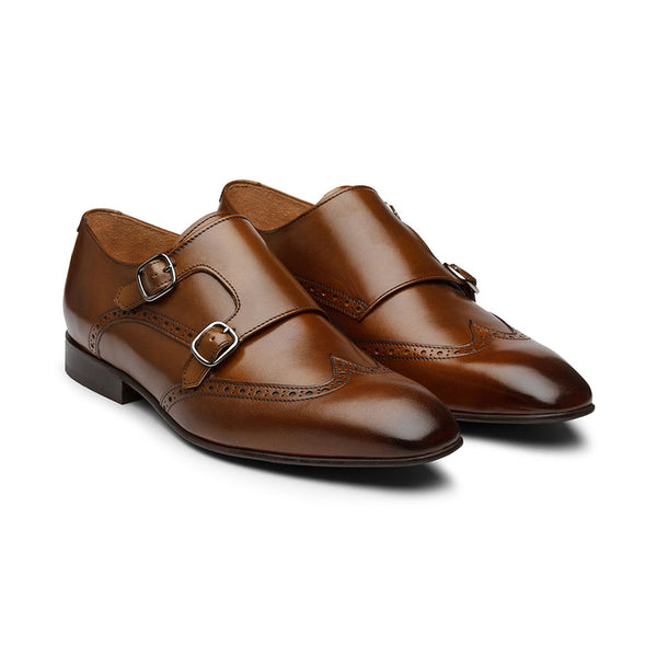 Brown Wingtip Monk Straps