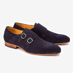 Navy Blue Suede Monk Straps