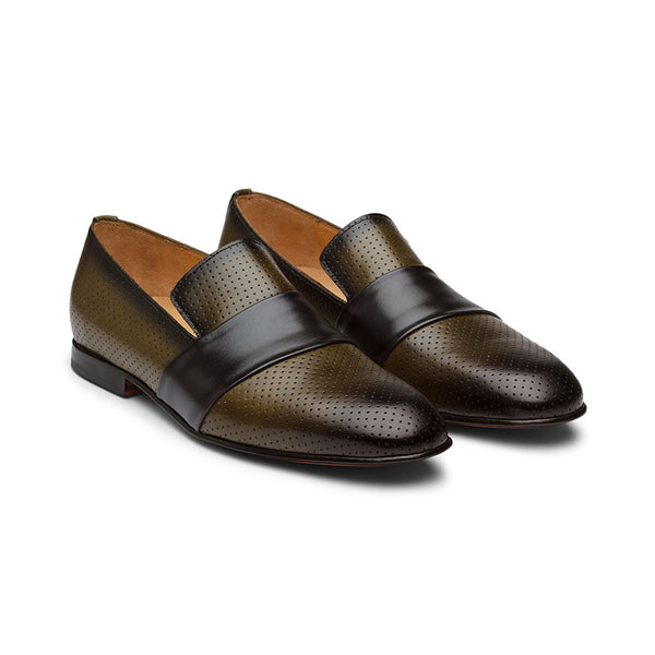 Olive Punched Loafers with Strap