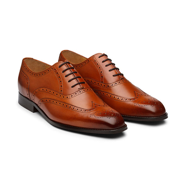 Tan Brogue Medallion Wingtip