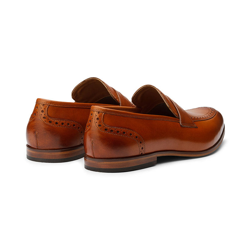 Tan Loafer with Punched Detail