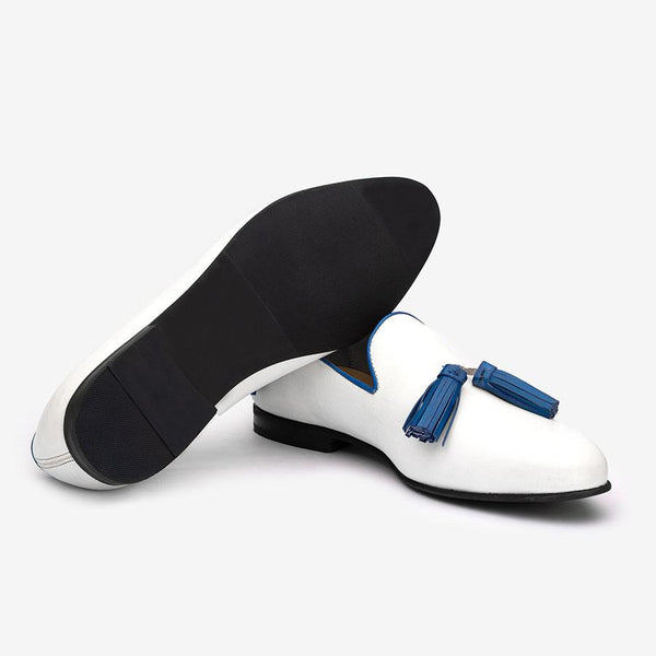 White Loafers With Blue Tassels