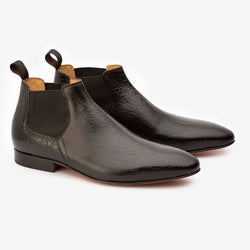 Black Croco Low Cut Chelsea Boots