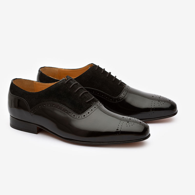 Black Patent Medallion Oxford with Suede detail