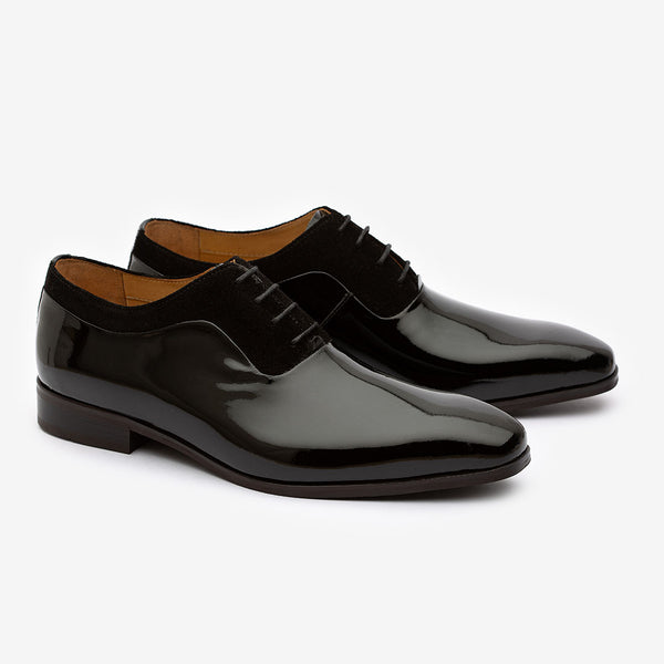 Black Patent Oxford with Suede detail