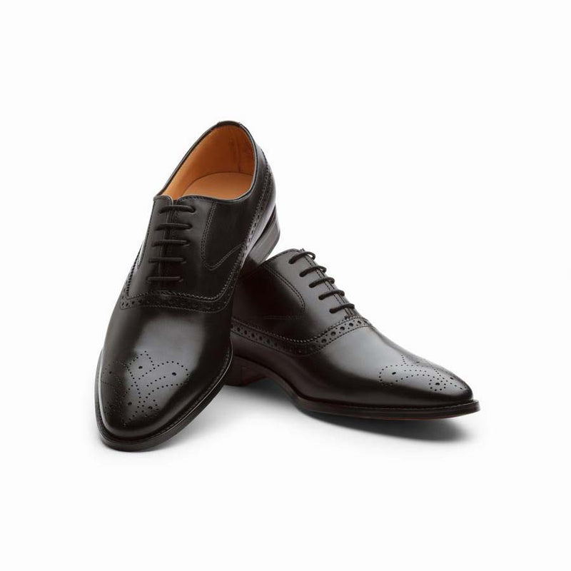 Black Medallion Longwing Oxfords