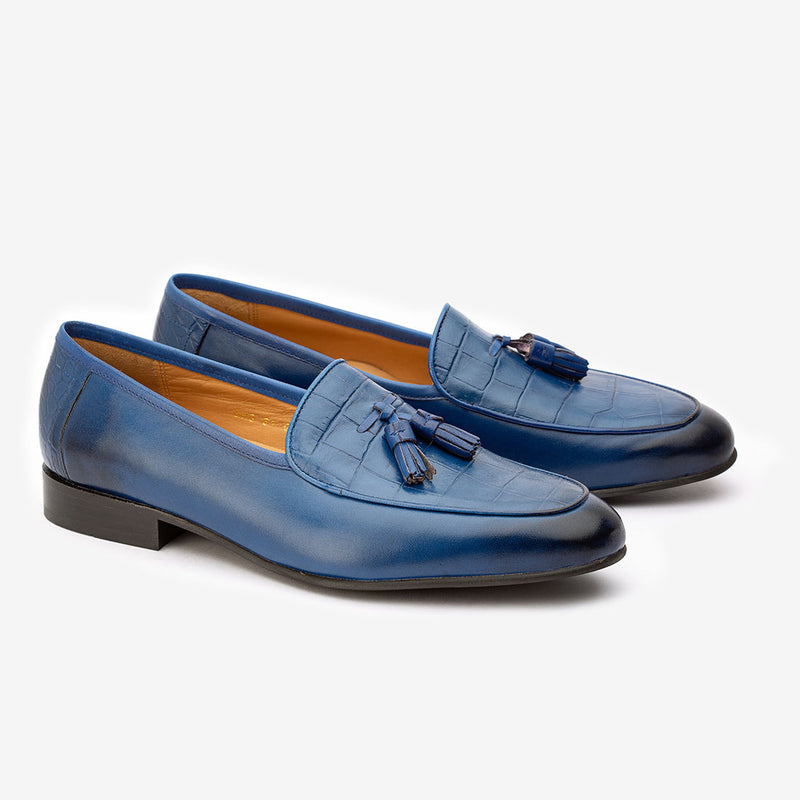 Blue Low Cut Tassel Loafers with Croco detail