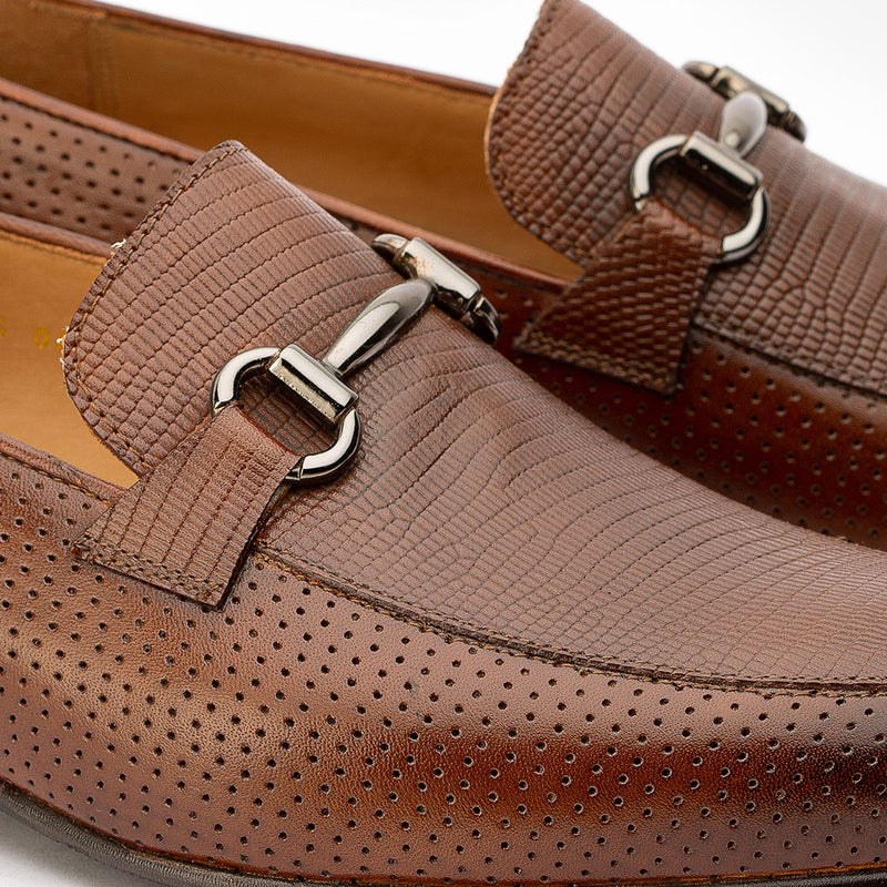 Brown Perforated Buckle Loafers with Lizaard Pattern detail