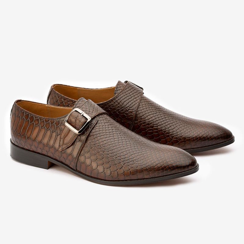 Brown Python Print Single Monk Strap
