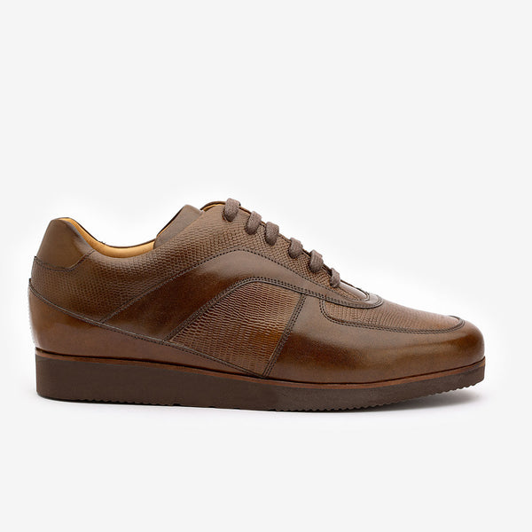 Brown Sneaker with Lizard Pattern detail