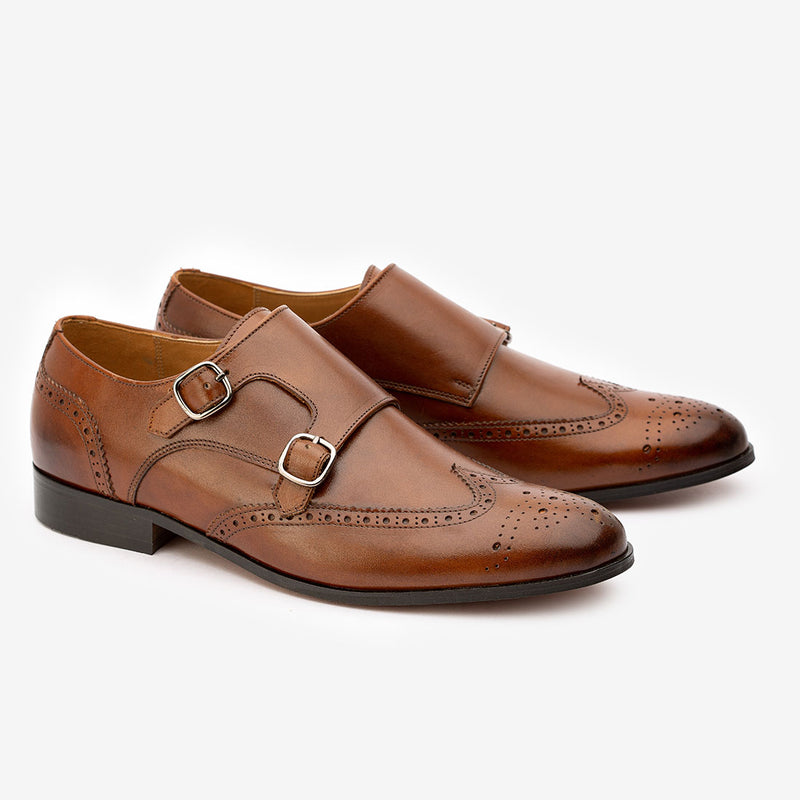 Brwon Medallion WIngtip Monkstraps